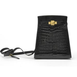 Hermes Vintage Black Shiny Alligator Kelly Sport Bag