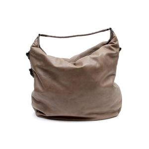 Bottega Veneta Stone Leather Crocodile Trim Hobo Bag
