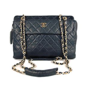 Chanel Black Lambskin Vintage Quilted Large Camera Bag
