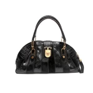 Versace Black Snakeskin Pony Hair Top Shoulder Bag