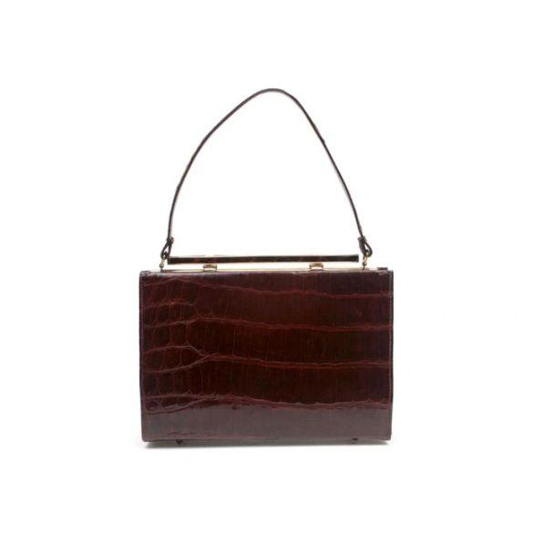 Vassar Vintage Brown Shiny Alligator Top Handle Bag
