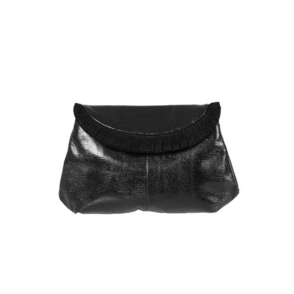 Bottega Veneta Black Lizard & Suede Ruffle Evening Clutch Bag
