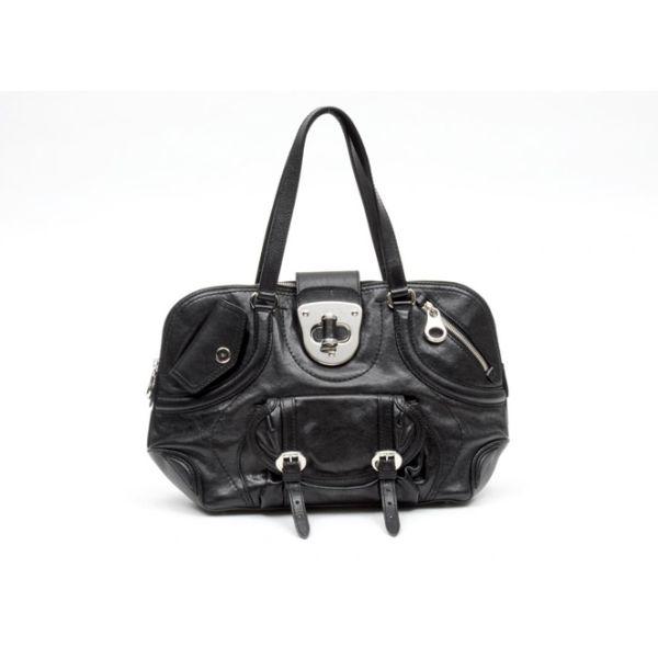 Alexander McQueen Black Leather Turn Lock Flapper Satchel Bag