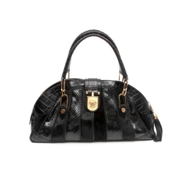 Versace Black Snakeskin Pony Hair Top Shoulder Bag