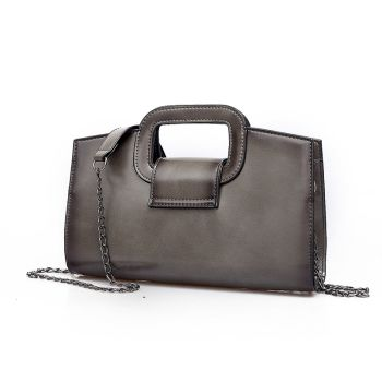 Grey Andreas Double Flat Handle Vintage Shoulder Bag with Chain Shoulder Strap