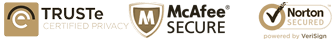 Trust-e, McAfee & Norton Secured Security Badges
