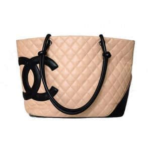 Chanel Beige Lambskin Quilted Logo Large Cambon Tote