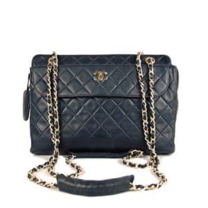 Chanel Black Lambskin Vintage Quilted Large Camera Bag