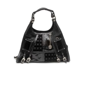 Versace Black Snakeskin Pony Hobo Bag