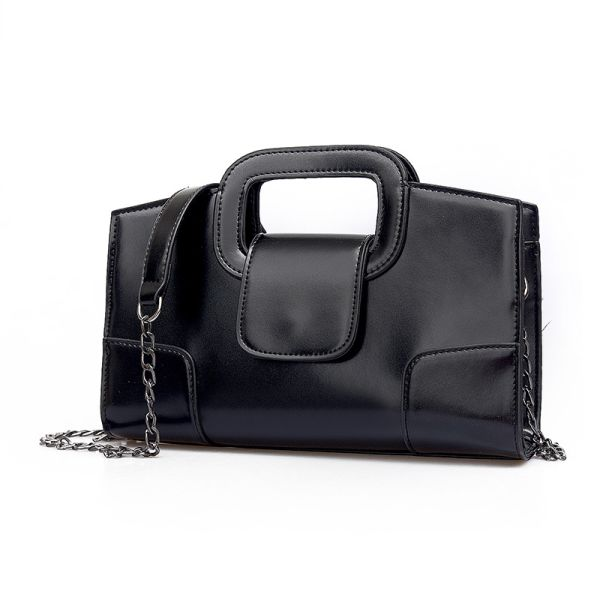 Black Andreas Double Flat Handle Vintage Shoulder Bag with Chain Shoulder Strap