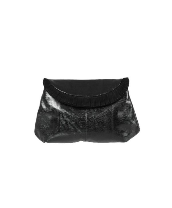 Bottega Veneta Black Lizard & Suede Ruffle Evening Clutch Bag