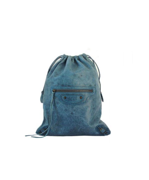 Balenciaga Spring-Summer Teal-Blue Drawstring Clutch