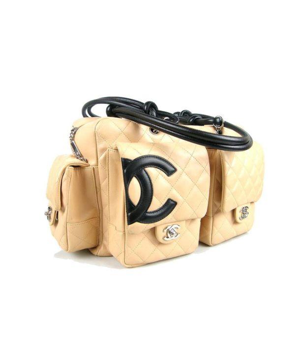 Chanel Beige Lambskin Cambon Reporter Bag