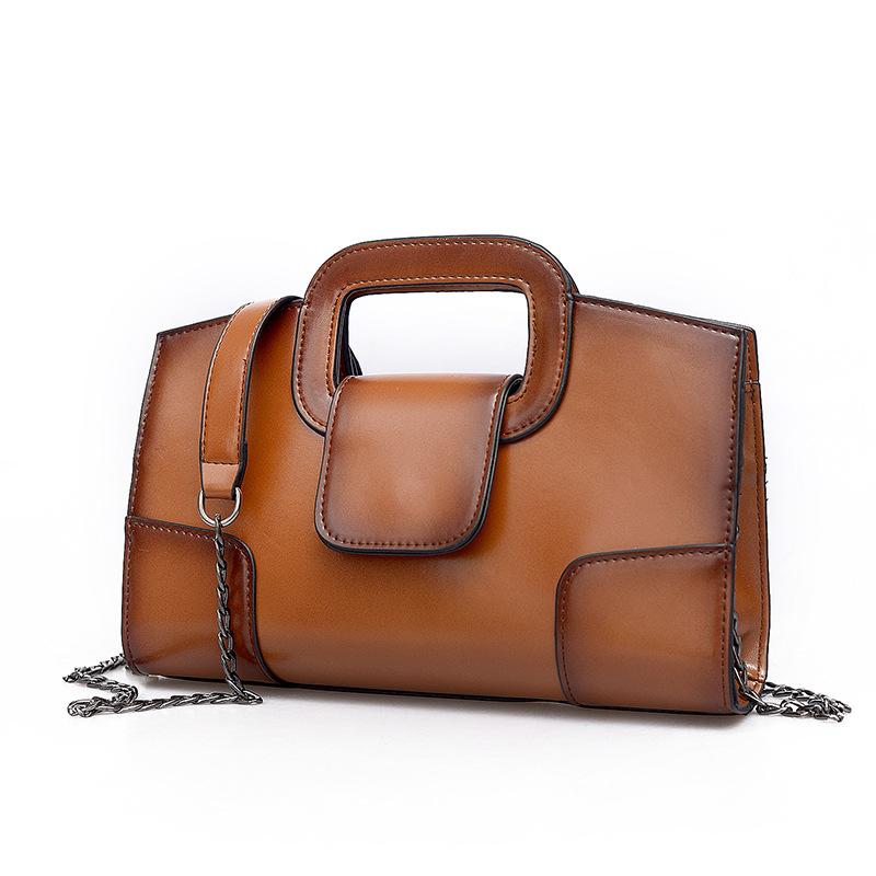 Brown Andreas Double Flat Handle Vintage Shoulder Bag with Chain Shoulder Strap