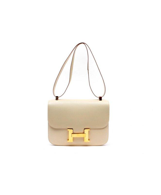 Hermes Vintage Beige Box Calf 23cm Constance Bag