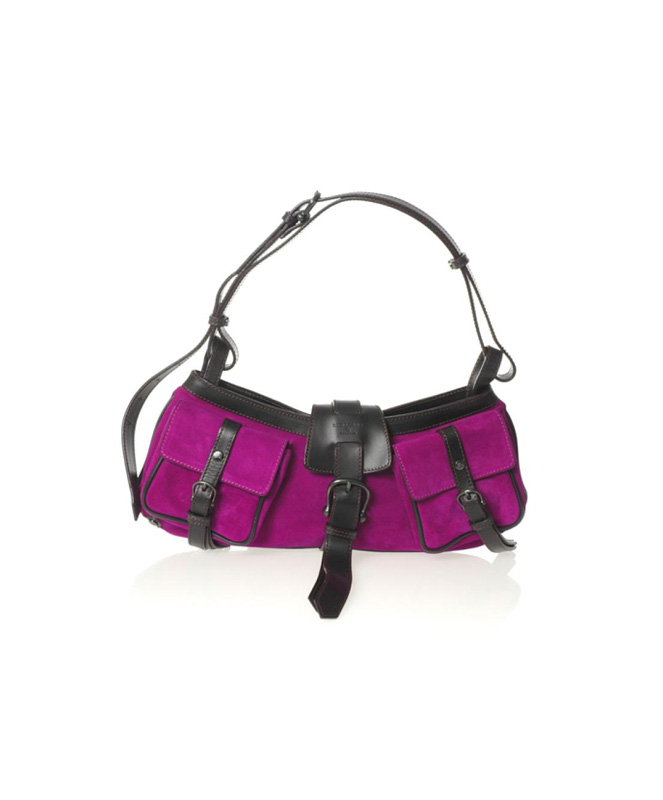 Burberry Fuchsia Suede Shoulder Bag