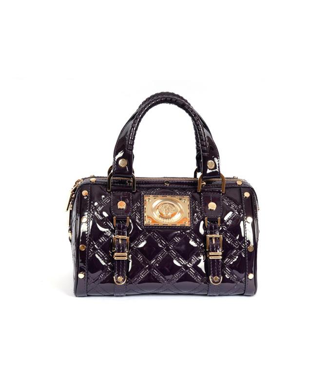 Versace Aubergine Patent Leather Madonna Satchel