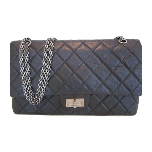 Chanel Black Distressed Lambskin Leather Quilted