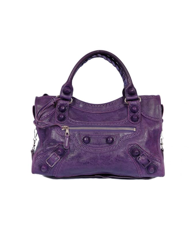 Balenciaga Covered Giant City Bag in Vintage Purple Lambskin Leather