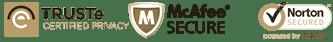 Trust-e, McAfee & Norton Secured Security Badges