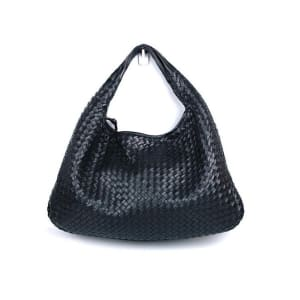 Bottega Veneta Black Lambskin Woven Large Veneta Hobo