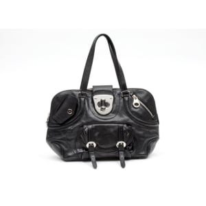 Alexander McQueen Black Leather Turn Lock Flapper Satchel Bag
