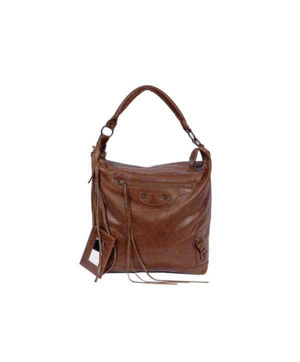 Balenciaga Bay Hobo Brown Vintage Lambskin Leather and Aged Brass Hardware