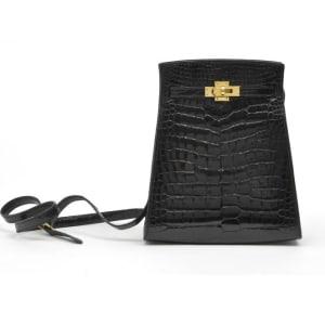 Hermes Vintage Black Shiny Alligator Kelly Sport Bag