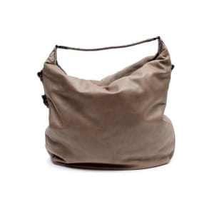 Bottega Veneta Stone Leather Crocodile Trim Hobo Bag
