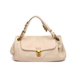 Bottega Veneta Khaki Woven Nappa Leather Single Flap Shoulder Bag