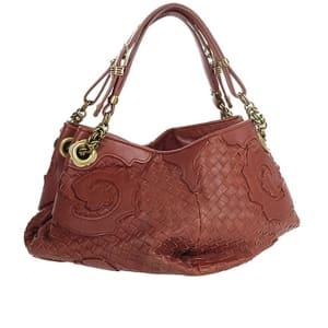 Bottega Veneta Crimson Red Tooled Woven Leather Shoulder Handbag