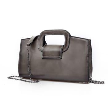 Grey Andreas Double Flat Handle Vintage Shoulder Bag with Chain Shoulder Strap