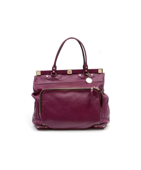 Lanvin Plum Leather Magnetic Top Frame Tote Bag