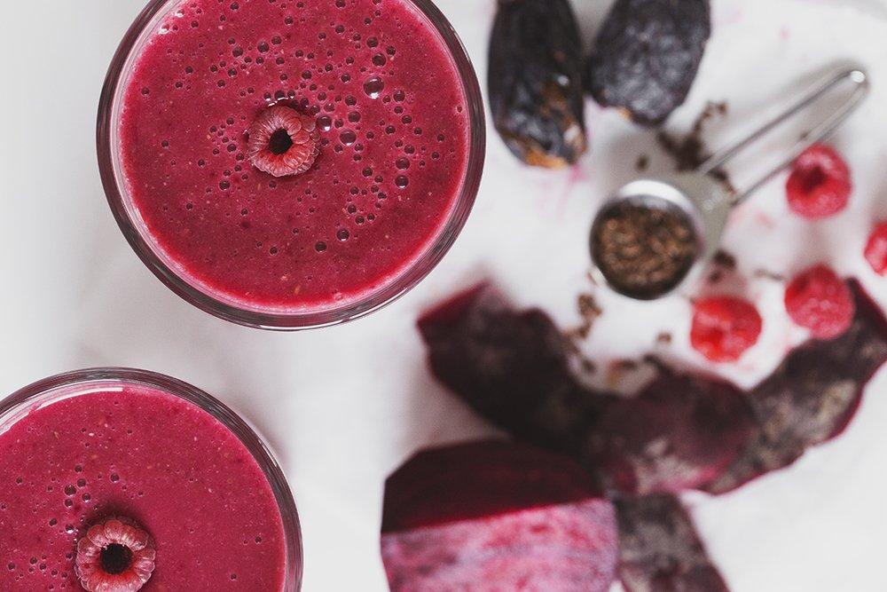 Rødbede smoothie med hindbær