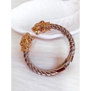 Bracelete Verniz Italiano pantera Dourada/Prata