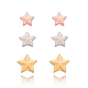 Brinco trio de estrela Mix de Cores.