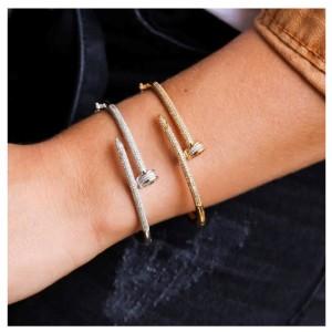 Bracelete prego com micro zircônias