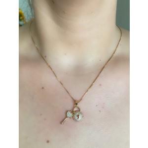 Colar com Cadeado e Chave Tiffany dourado