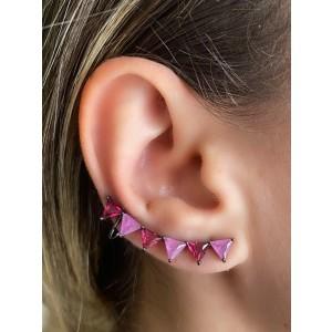 Brinco Earcuff com Pedras Fusion roxa e lilás