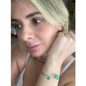 Bracelete com Pedras fusion, esmeralda colombiana