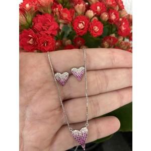 Conjunto coração cravejado pink