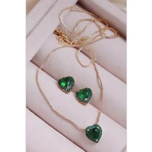 Conjunto de coração verde