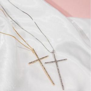 Colar Crucifixo Cravejado - Dourado