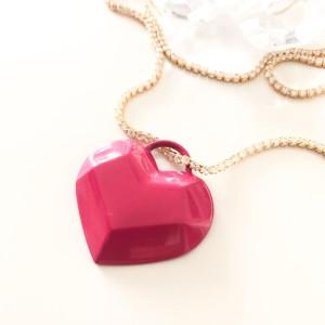 Pingente Coração Esmaltado Pink