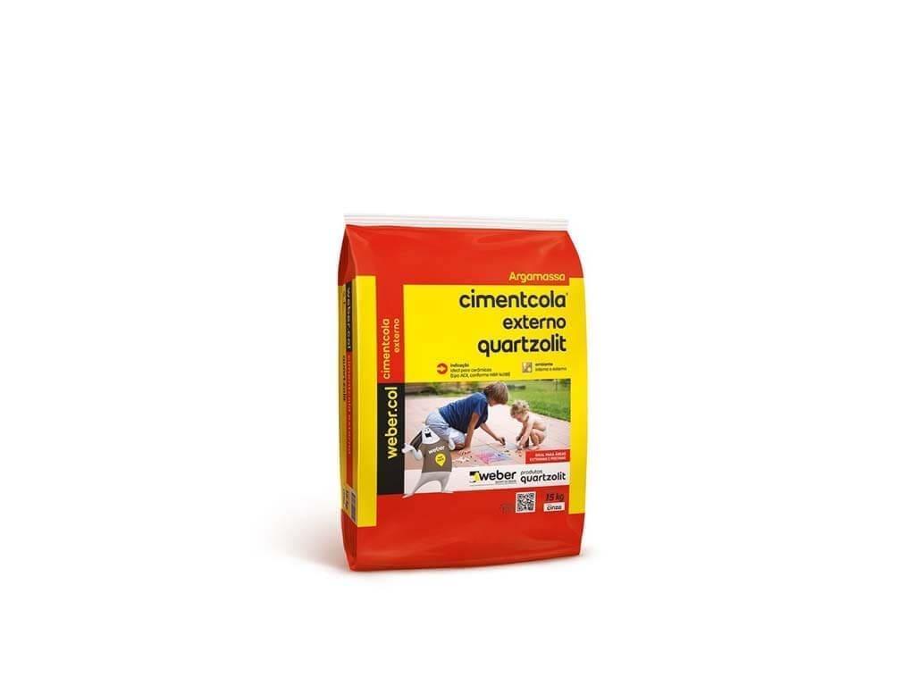 Cimentcola Externo Cinza Quartzolit AC2 (Saco 20KG)