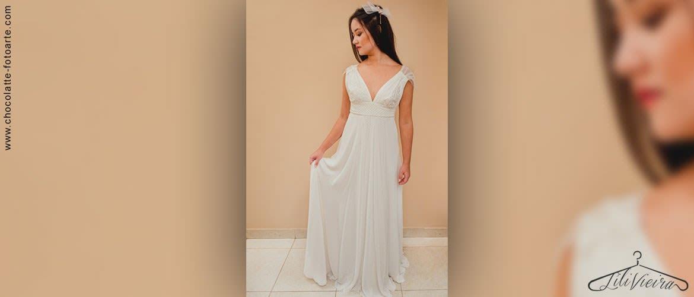Vestido de Noiva Lisboa Tule Poá