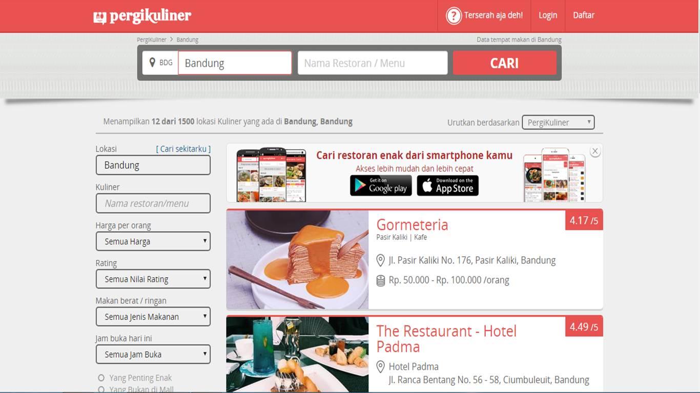 website tempat makan