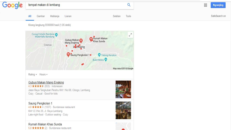 lokasi terdekat tempat makan