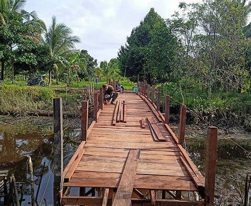 Satgas TMMD Membuatan Jembatan Telah Mencapai 50%