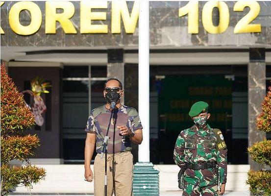 Apel Pagi Makorem dipimpin Langsung Danrem 102/Pjg